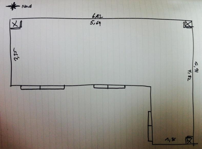 Plan et dimensions de la terrasse en mètre avec indication position pour ensoleillement