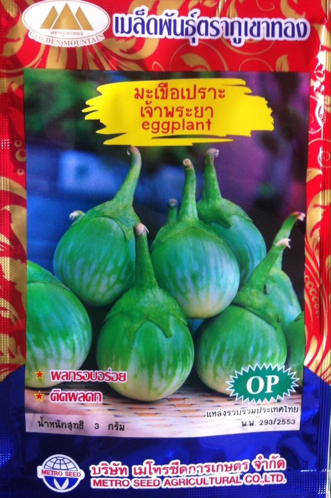 Graines d'aubergine blanche, en forme ronde, qu'on croque comme des radis en Thaïlande